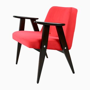 Red Velvet 366 Lounge Chair by Józef Chierowski, 1970s
