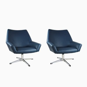 Blue Leather Swivel Chairs from VEB Metallwaren Naumburg, 1970s, Set of 2
