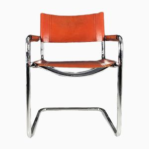Italian Chrome Plating and Leather Dining Chairs by Mart Stam for Fasem, 1980s, Set of 4