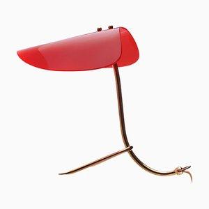 Lampada da tavolo in acrilico rosso ed ottone, anni '50