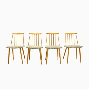 Scandinavian Modern Wooden Side Chairs, 1960s, Set of 4