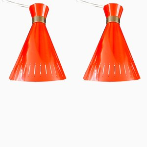 Red Pendants by Svend Aage Holm Sørensen for Holm Sørensen & Co, 1960s, Set of 2