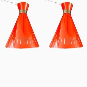 Red Pendants by Svend Aage Holm Sørensen for Holm Sørensen & Co, 1960s, Set of 2