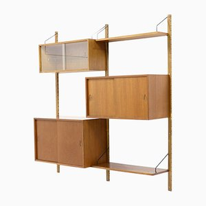 Danish Glass, Steel, and Veneer Royal Wall Unit by Poul Cadovius for Cado, 1960s