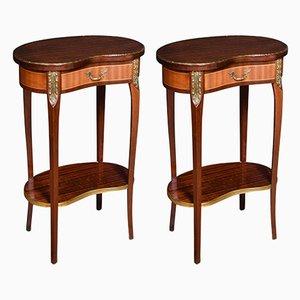 Vintage Wooden Side Tables, 1920s, Set of 2