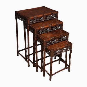 Antique Chinese Rosewood & Bamboo Nesting Tables