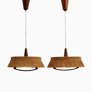 Lampes à Suspension Scandinaves Vintage en Teck de Temde Leuchten, 1960s, Set de 2