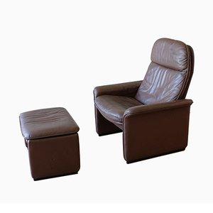 Juego de silla reclinable DS50 y otomana de de Sede, años 70