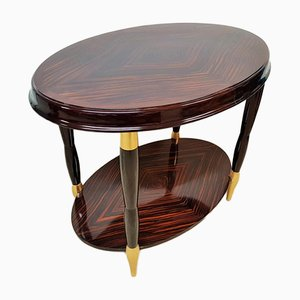 Art Deco Ebony and Gold Leaf Side Table, 1920s