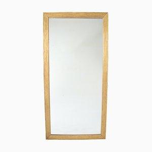 Grand Miroir en Bois Doré avec Cadre en Roseau, 19ème Siècle