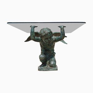Patinated Brass Coffee Table with Winged Cherubs, 1980s