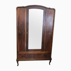 Vintage Walnut Wardrobe with Beveled Mirror, 1920s