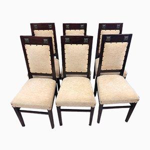 Antique Art Nouveau Cherry Dining Chairs, Set of 6