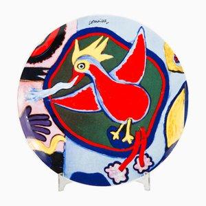 Piatto vintage rosso con uccelli di Corneille Guillaume Beverloo