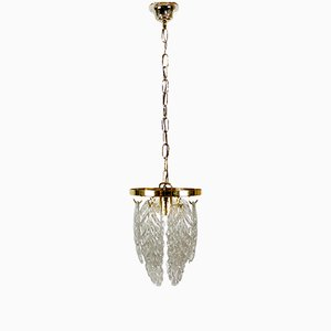 Italian Brass and Murano Glass Ceiling Lamp from Mazzega, 1970s
