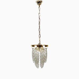 Italienische Deckenlampe aus Messing & Muranoglas von Mazzega, 1970er