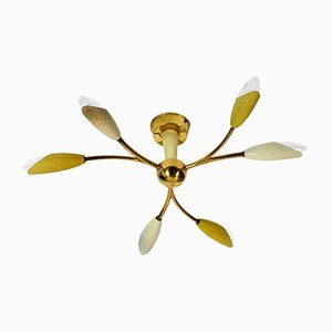 Mid-Century German Brass and Metal Armed Ceiling Lamp, 1950s
