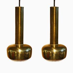 Lampes à Suspension Modèle 422 Vintage en Laiton par Vilhelm Lauritzen, 1950s, Set de 2