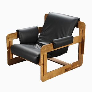 Danish Leather & Oak Rover Lounge Chair by Arne Jacobsen for Asko, 1970s