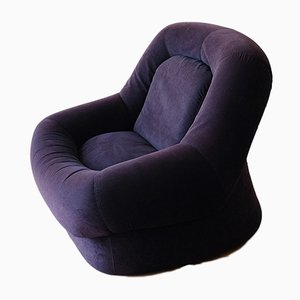 Italian Indigo Blue Armchair, 1970s