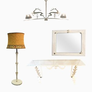 Mid-Century Italian White Wrought Iron Living Room Set, 1950s