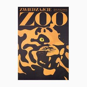 Póster polaco de el zoológico con tigre de Waldemar Swierzy, 1967