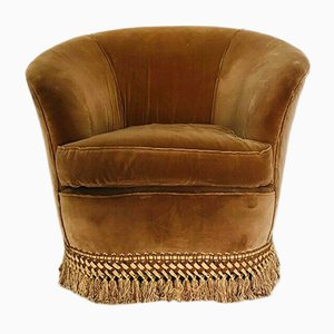 Italienischer Mid-Century Sessel aus Stoff & Metall, 1950er