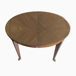 Mesa de comedor antigua de latón y caoba