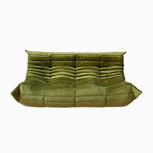 Green Velvet Togo 3-Seater Sofa by Michel Ducaroy for Ligne Roset, 1970s