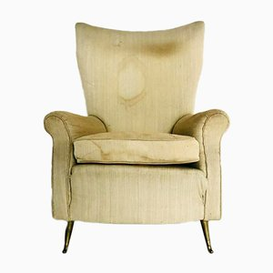 Italian Brass and Fabric Armchair by Paolo Buffa, 1940s