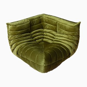 Green Velvet Togo Corner Sofa by Michel Ducaroy for Ligne Roset, 1970s