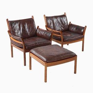 Dänisches Set mit 2 Sesseln & Fußhocker aus Leder & Palisander von Iillum Wikkelsø für CFC Silkeborg, 1964