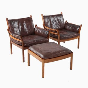 Danish Leather & Rosewood Set with 2 Lounge Chairs & Ottoman by Iillum Wikkelsø for CFC Silkeborg, 1964