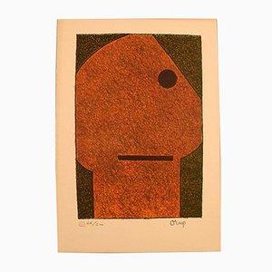 Litografía sueca a color de Bengt Orup, años 60