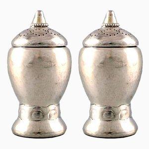 Art Nouveau Danish Silver Salt Shakers by Fernanda Hansen, 1910s, Set of 2
