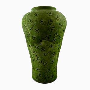 Große grüne Vase aus glasiertem Steingut von Kähler, 1930er