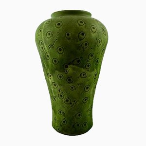 Large Danish Green Glazed Stoneware Vase from Kähler, 1930s