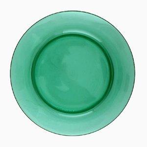 Grünes französisches Mid-Century Teller-Set aus Glas von Vereco, 10er Set