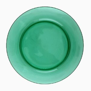 Mid-Century French Green Glass Plate Set from Vereco, Set of 10