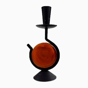 Cast Iron & Hand-Blown Glass Candlestick by Erik Höglund for Kosta Boda, 1970s