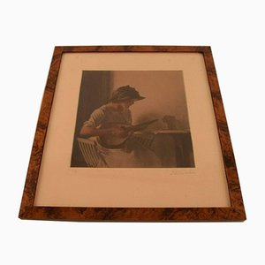 Antique Mezzotine Print Mandolin Player by Peter Ilsted