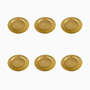 Danish Brass Plates, 1960s, Set of 6