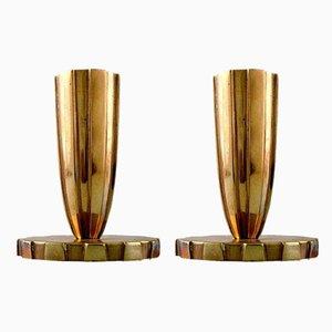 Kerzenhalter aus Bronzeim Art Deco Stil, 1940er, 2er Set