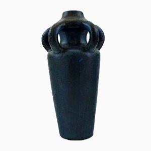Dunkelblau glasierte schwedische Keramikvase von Höganäs, 1920er