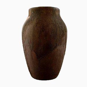 Vintage Brown Glazed Ceramic Vase, 1920s