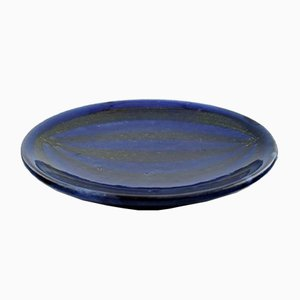 Blue-Black Glazed Ceramic Dish from Upsala Ekeby, 1950s
