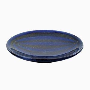 Plat en Céramique Émaillée Bleue-Noire de Upsala Ekeby, 1950s