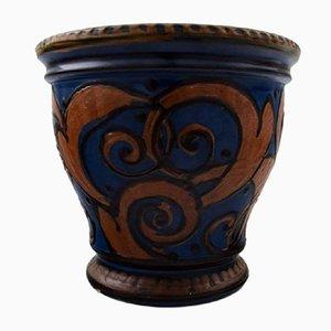 Large Glazed Stoneware Vase from Kähler, 1920s