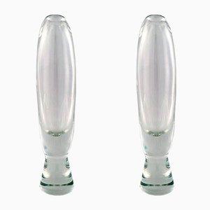 Grands Vases Orrefors Mid-Century en Verre, Set de 2