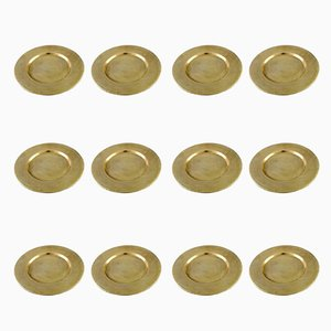 Danish Brass Plates, 1960s, Set of 12